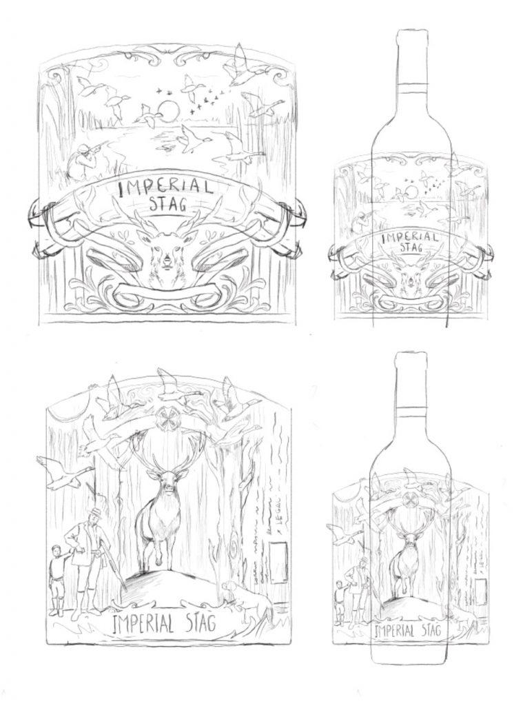 bocetos etiqueta imperial stag